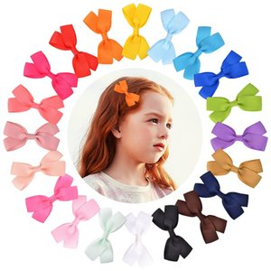 20Pcs 3.2 Inch Solid Barrettes Sweet Children Ribbon Bows Hairpin Hair Clip Kids Hair Accessories Beautiful HuiLin C462