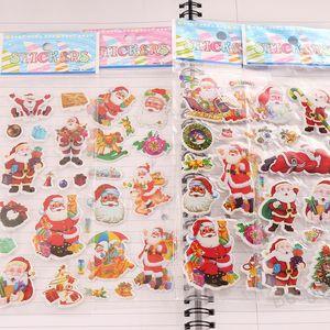 Christmas 3D Cartoon Sticker Christmas Tree Snowman Stickers Santa Claus Bell Wall Stickers Home Decoration Kindergarten Reward BH4299 WXM