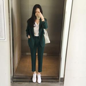 Женские брюки для женщин Осень 2021 Чистые цветные куртки и женский костюм Верхняя одежда Шортпанты из двух частей Office Lady Set1