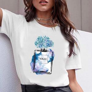 ZOGANKIN Vogue Women Cotton T-shirt Print Flower Perfume Bottle Tshirt Girls Short Sleeve Shirt Female O-Neck Tops Casual Tee #Rw3i