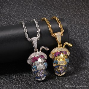 Coloured Zircon Hip hop Pendant Full Drill Cartoon Beverage Cup Necklace Unisex New