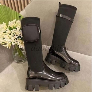 Shiny Rois designer black leather nylon Martin boots Knee-high boots platform thick bottom all-match bare foot boots Gg3