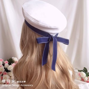 Girl Heart Soft Girl LOLITA Bow Ribbon Navy Wind Beret Joker Blue White Hat Cosplay Performance 201026
