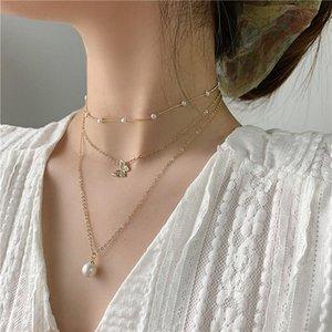 Новый дизайн мода ювелирные изделия Многослойная ожерелье Изысканный медный инкрустированные Циркон бабочка Pearl Подвеска Элегантный женщины ожерелье