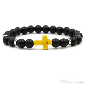 Kreuz-Männer Armband Marke Großhandel Unisex-Stein-Armband-Handarbeit Black Onyx Vulkan Matte Perlen Armbänder