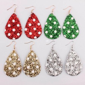 ZWPON 2021 Neue Weiße Polka Dot Glitter Leder Teardrop Ohrringe für Frauen Mode Leder Schmuck Weihnachtsgeschenke Großhandel