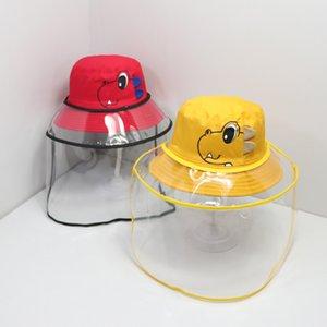 Çocuklar toz geçirmez Kepçe Şapkalar Outdoor EWL Kargo Çocuklar Dinozor Koruyucu Kapak Çıkarılabilir Emniyet Yüz Kalkanı Balıkçı Şapka EWA1072 Caps