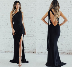 2021 Simple Black Evening Dresses One Shoulder Sexy Backless Side Split Bridesmaids Prom Gowns Mermaid Wedding Guest Party Dress AL8247