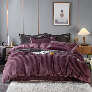 4PCS Thick Duvet Cover Set Velvet Hotel Bedding Warm Double Side Sheet Cover Jacquard Velvet Printing Dyeing Applique Design 200*230 220*240
