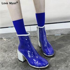 Mulheres PVC Botas Transparentes Zíper Heaves Salto Alto Calcanhar Rainboots Moda Ankle Boots Borracha Sapatos1