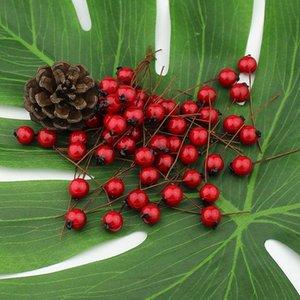 Kiraz Kırmızı 1 cm Stamens 50 adet Çilek Yapay Çiçekler Düğün Noel için Sahte Pürüzsüz Köpük Meyve