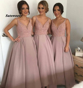 Sparkling Blush Pink Bridesmaid Dresses V Neck Sleeveless High-Low Heavy Beaded Junior Country Bridesmaid Dresses Long Maid Of Honor Dress