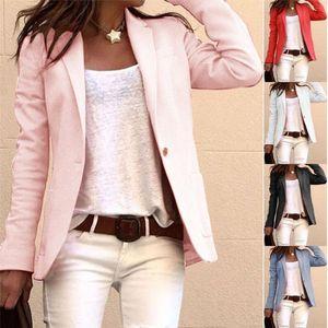 Womens Blazer Autumn Hot Mulheres Vendas elegante Brasão de negócios de Slim Suit Moda cor sólida manga comprida Casacos