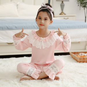 Bambini Girl's Lolita Pink Pajama Sets.Turndown Collar Top + Pants.Vintage Toddler bambini Pigiama Set.Royal Style Sleep Loungewear W1222