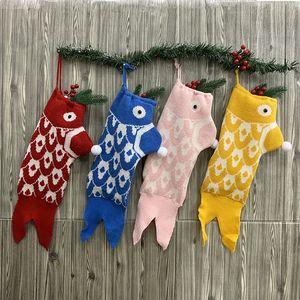Christmas Stocking Mermaid Christmas Socks Knitted Gift Bag Santa Xmas Tree Hanging Gift Socks Christmas Socks Gift Bag Home Ornaments