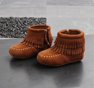 Bebek Kız Ayakkabı 2020 İlkbahar ve Sonbahar Yeni çocuk Deri Moda Püskül Çizmeler Kızlar Bebek Dana Kısa Çizmeler Kaşmir1