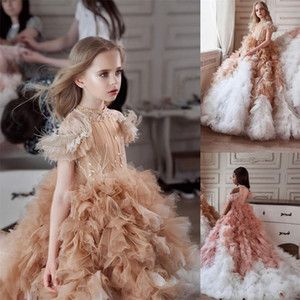 2021 New Girl's Pageant Dresses Crystal Beaded Sweep Train Tiered Riffles Girls Birthday Party Gowns Mixed Color Kids Formal Evening Gowns