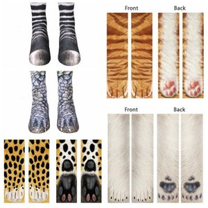 Adult Children Cotton Socks Kid Funny 3D Animal Print Socks Kawaii Cute Animal Paw Sock Fashion High Ankle Socks For Men Women