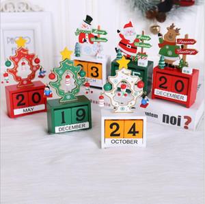 Kalender 3D Christmas Holz Kalender Cute Santa Deer Schneemann-Druck Kalender Kinder Desktop-Ornamente Weihnachtsschmuck HWC3429