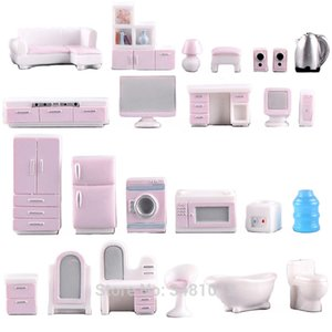 Miniature Dollhouse Furniture Set for Dolls House Mini Toy Kit Accessories TV Kitchen Home Fridge Kids Pretend Play Diy Figurine LJ201031