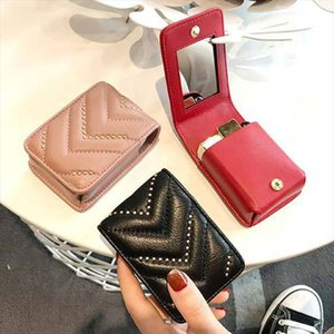 Women Genuine Leather Lipstick Makeup Bag V Wave Pattern Ladies Portable Mirror Case Lambskin Designer Make Up handbag