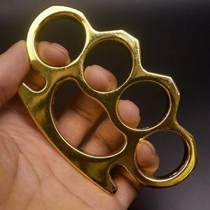 Novo ferro gilded gilded de aço de bronze de aço knuckle alumínio de alumínio tigre tigre de quatro dedos anel de autodefesa clasp anel de punho