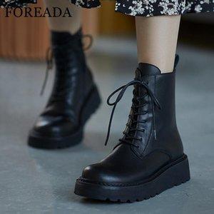 FOREADA ريال جلدية للدراجات النارية أحذية المرأة شقة منصة أحذية الكاحل ربط الحذاء حتى قصيرة الرمز أحذية النسائية خريف وشتاء الحجم 40