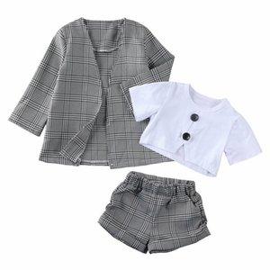 1-6Y 유아 아기 소녀 아이 옷 세트 짧은 소매 탑 바지 격자 무늬 코트 공식 복장 옷 3pcs Y200525
