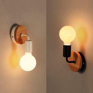 Nordic Wood Бра Современное Nordic Бра с выключателем для домашнего светильника ретро свет стены Декор Эдисон лампы Черного Белого Творческого Света