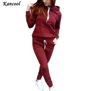 Ternos Kancool Inverno Mulheres Tracksuits Esportes veludo hoodies camisolas Calças executando Set velo Sportswear Roupa Quente