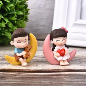 1set mignon Sweety Lovers Couple président Figurines de collection Jardin Gnome Moss Valentine cadeau Résine Fairy Garden Supply Décoration