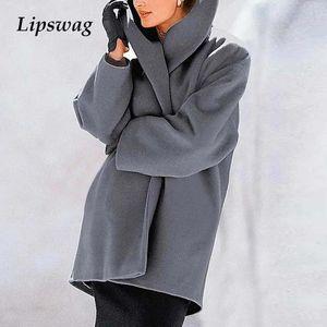 Autumn Winter Warm Elegant Women Wool Coat Retro Solid Pocket Single Button Long Jacket Casual Female Plus Size Cardigan Topcoat