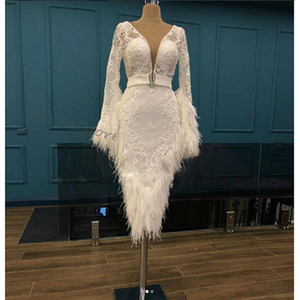Luxury Feather Short Prom Dresses With Long Sleeve Tea Length Sheath Tight Evening Dress Beaded Lace Night Cocktail Party Women Dress Wear