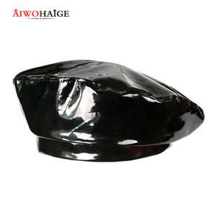 Neue Art und Weise Glanzleder-Beret-Qualitäts-Dame-Hüte Solid Color Flat Top Hat PU Slouchy Knochen Kapitän Cap Frauen weiblich 201009