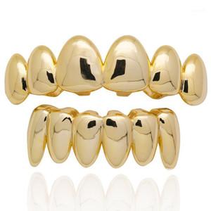 Hip Hop New Dientes Grillz helados Out Top Inferero Conjunto de dientes para hombres Mujeres 3 colores moda diente irregular Grillz Jewelry1