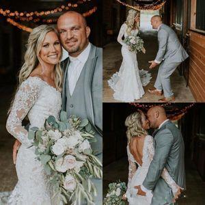 2021 Sexy Country Lace Mermiad Wedding Dresses Long Sleeves V Neck Backless Floor Length Applique Vestido De Novia Appliqued Bridal Gowns