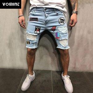 Vomint Hommes Coton Denim Denim Short déchiré Jean Homme Homme Trous Pantalons Summer Mens Hommes Jeans1