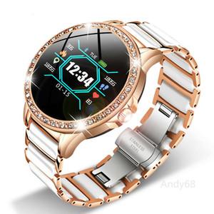 Luxury Lady sport Smart Watch Women IP67 blood oxygen measure bluetooth Ceramic Strap smartwatch