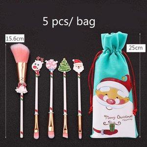 50pcs / set Weihnachten Make-up-Bürsten-Satz-Weihnachtsgeschenke Kit Schöne Make-up-Werkzeuge mit Kordelzug Weihnachtsmann Schneemann-Weihnachtsgeschenk XD24077