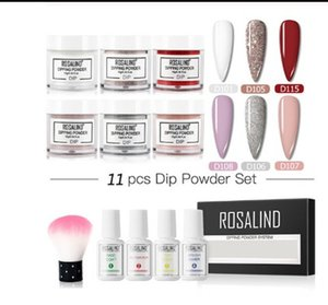 11pcs lot ROSALIND Dip Powder Set Nail Glitter For Nail Art Decorations atural Dry Without Lamp Cure Sequins For Design Nails Accessories