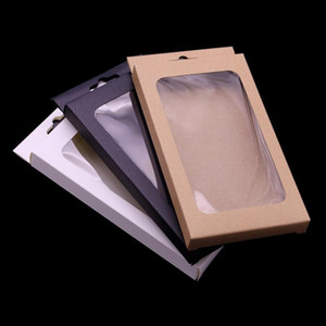 4 sizes Black kraft paper box with pvc window for mobile phone case universal phone box retail case packaging