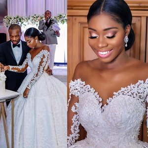 African Long Sleeve Lace Ball Gown Wedding Dresses Cathedral Train Illusion Pearls Major Beading Bridal Gowns Custom Made L128