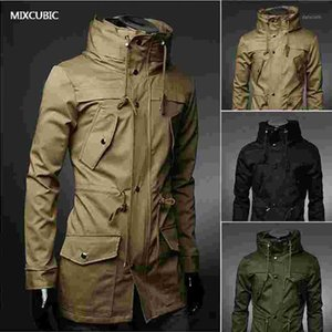 Davidyue 2020 Angleterre Style High Col Veste Trench Hommes Armée Green Business Casual Slim Windbreaker pour Homme Coat Jacket M-XXXL1
