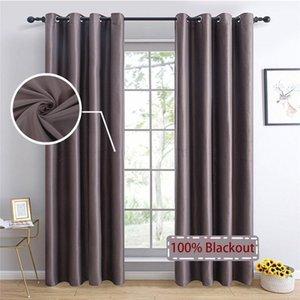 TopFinel 100% sólido cortinas apagones para dormitorio Sala de estar Cortinas ciegas ventana decoración ventana gris1