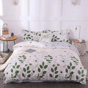 BEST.WENSD Branco Beding algodão Consolador conjuntos nova Folha padrão duvet set plana fronhas Colcha de cama capa dupla único