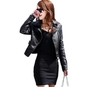 Autumn Women Black Slim Cool Lady PU Leather Jackets Sweet Female Zipper Faux Femme Outwear Coat Plus Size 201021