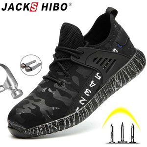 JACKSHIBO Safety Work Shoes Boots For Men Male Anti-Smashing Steel Toe Cap Boots Construction Shoes Safety Boots Work Sneakers Y200915