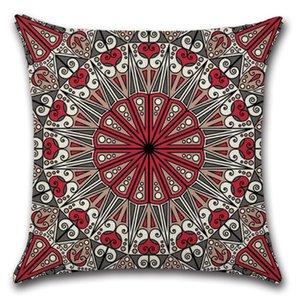 Cubiertas de almohadas Mandala Cuadrado Funda de almohada Caja de algodón Caja de almohada Almohadas decorativas Cubiertas Cubiertas Sofá SEAT HOTEL Decoración GWF4233
