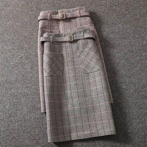 New Arrivals Women Winter One-step Bag Hip Skirt Female Korean Version Woolen Plaid Skirt Female Mid-length High-Waist Slit
