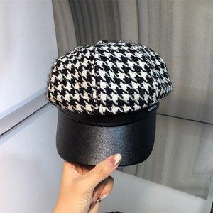 2020 mejor sombrero de cuero otoño de la venta y la costura de invierno con el sombrero de pata de gallo octogonal visera entrega gratuita Joker